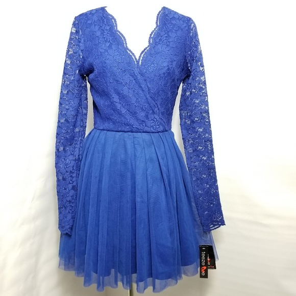 4b2d239ac588 Teeze Me RoyalBlue Lace Long Sleeve Dress Size 5 6